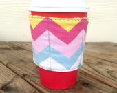 Chevron Coffee Cozy Reversible Cup Cozy Smoothie To Go Gift Coffee Lover