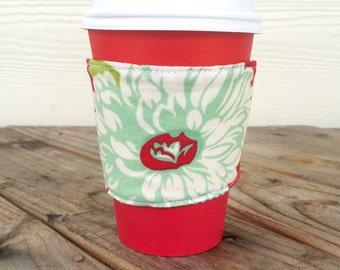 Flower and Green Stripes Coffee Cozy Reversible Smoothie To Go Cup Green Christmas Gift Stocking Stuffer