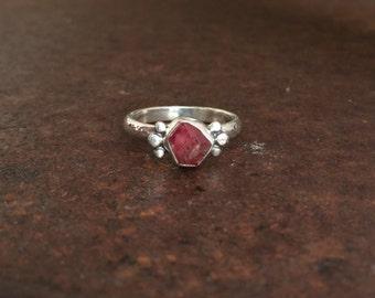 Raw Crystal Ring - Raspberry Garnet & Sterling Silver Ring - Healing Jewelry - Gypsy Ring