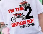 RED Dirt Bike and Quad Shirt - Big Number Birthday Shirt Personalized with Name 1,2,3,4,5,6,7,8,9,10 Shirt  - dirt bike Birthday Shirt
