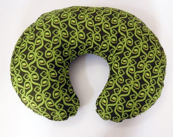 Green Aztec Snakes flannel baby Boppy or nursing pillow cover