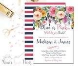 Gender Reveal Baby Shower Invitation, Floral Baby Shower Invitation, Baby Shower Invite, Gender Reveal Invite, Watercolor Baby Shower