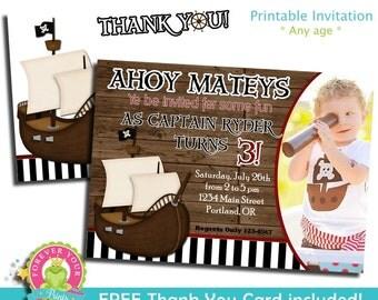 Pirate Birthday Invitation / Pirate Party Invite / Pirate Invitation / Pirate Birthday / Printable Pirate