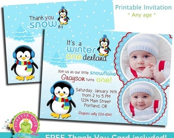 Winter Onederland Invitation / Winter Wonderland Invitation / Winter Onederland Invite / First Birthday / 1st Birthday