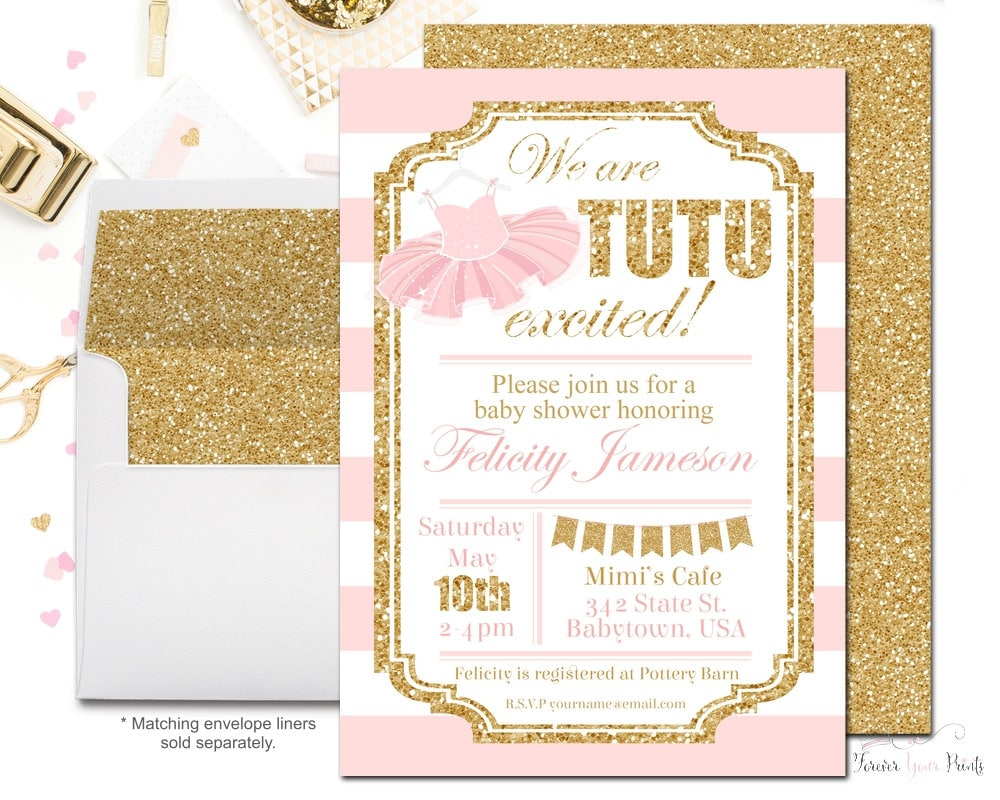 tutu baby shower invitations girls baby by foreveryourprints