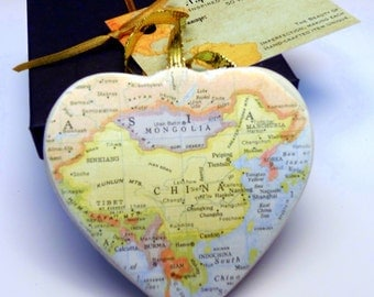 China Map Christmas Ornament, Your Special Place in the Heart