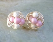 Mix It Up Series- Pastel Pink / Star Dust-Swarovski Glass Pearl and Stardust bead Wire Wrapped Stud Earrings
