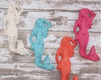 SUMMER SALE Mermaid Cast Iron Hook / Coastal / Nautical / Mermaid Decor / Rustic