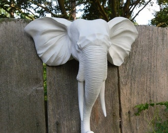 On Sale Faux Taxidermy / Wall Mount Animal Head / Modern / Elephant Head Wall Decor / Matte White / Shabby Chic Decor