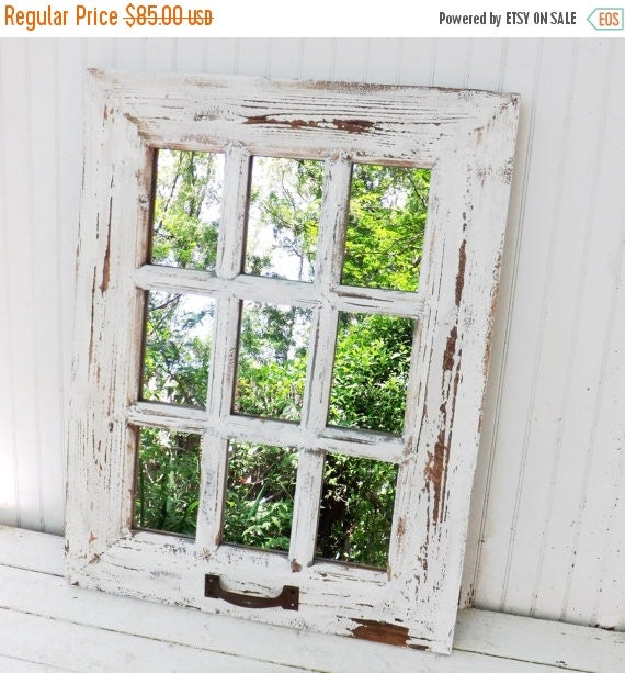 Fall sale rustic farmhouse window mirror window by for Window mirrors for sale