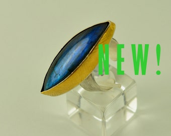 Cocktail Ring, Silver and 24K gold, Labradorite One-of-a-Kind,