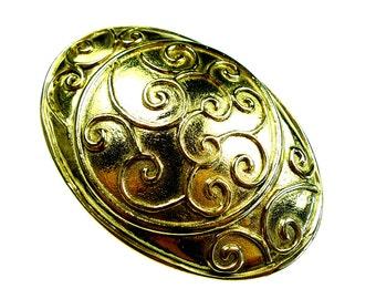 Belt buckles, vintage gold tone metal