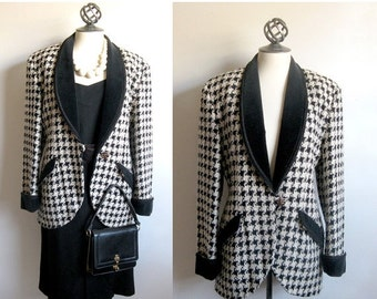 Clearance Alfred Sung Vintage 1980s Jacket Black Cream Houndstooth Blazer 10