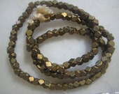 Solid Brass Beads: Small Faceted Spacer Beads, 3x3mm, 11 grams, 80 pcs. (last group)