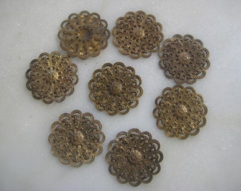 Vintage Filigree Stampings:  Ornate Round Lightly Dapt/Dapped Filigree Flower Jewelry Findings, Altered Art Supply, 20mm, 8 pieces