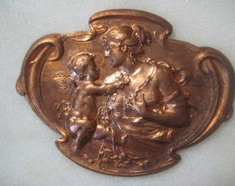 Vintage Edwardian Mother & Cherub Child Shield;  Stamped Brass Shield, Pin Topper, Jewelry Finding, Decoration, Trim, 48mm x 36mm, 1 Pc.