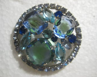 Vintage Rhinestone Brooch, 1950s Shades of Blue Faceted Crystal Glass Prong Set Big Bold Rhinestones, Silver Plated, 2 Inch Size