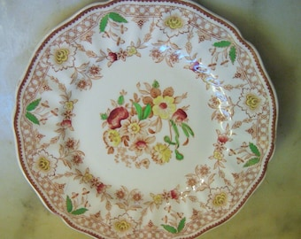 "Vintage Royal Doulton ""The Glendale"" Pattern, 10 1/4 Inch Dinner Plate, Made in England, Scalloped Edge and Floral Design, 1 Pc."