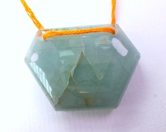 Natural Aquamarine Hexagon Statement Bead. XXL Large & Substantial. Double Drilled. High Glossy Polish. 1 pc. 79 cts. 36x26x9 mm (EM2285)