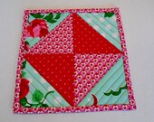 Valentine Mug Rug, Coaster, Snack Mat, Mini Quilt, Small Placemat, Quilted Mug Rug, Retro Flowers, Hearts