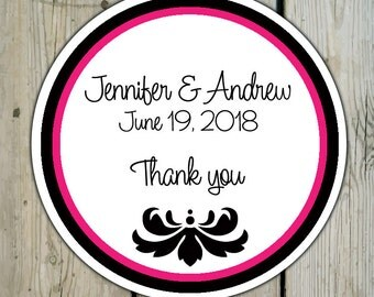 Round Custom Damask Favor Labels / Stickers - Damask Ornament - Personalized Damask Wedding Favor Stickers / Shower Labels / Birthday