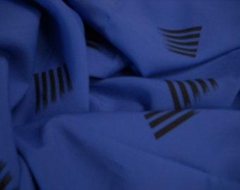 Royal  blue polyester fabric wth black slash design  3 plus yards