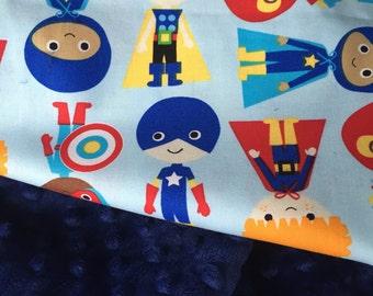Super Hero Blanket, Boy Minky Blanket, Boy Crib Bedding, Baby Boy Gift, Blue Bedding