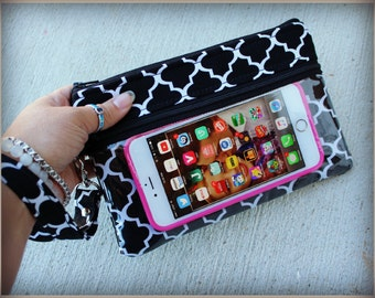 touch screen case - phone case - phone wallet - black and white phone wallet - gadget case