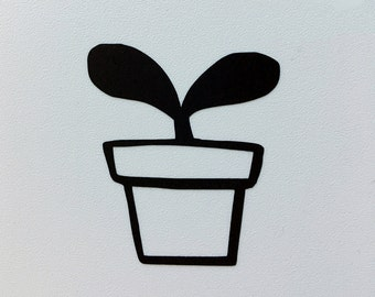 Potted sprout vinyl sticker