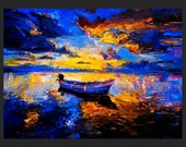 Sky Glows — PALETTE KNIFE Contemporary Seascape Modern Art Deco Oil Painting On Canvas By Ivailo Nikolov