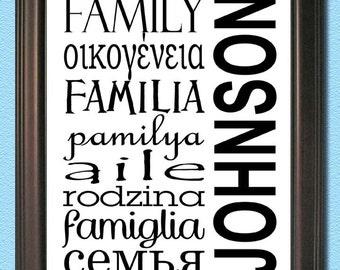 Custom - Subway Art Digital JPEG File-Any Size - Family languages