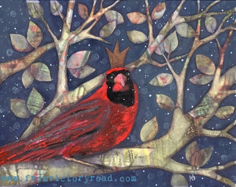 Winter King cardinal 11 x 14 mixed media print