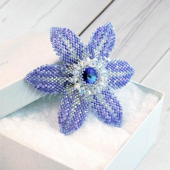 Purple Bridal Hair Clip - Beaded Flower - Crystal Hair Clip - Alligator Clip - Wedding Hair Clip - Bridesmaid Hair Clip - Gift for Her