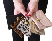 Leopard print coin purse, tiny women's wallet with birds, birds coin purse, credit card and bussiness card case