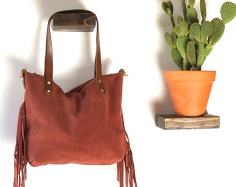 ZIP TOP TOTE- Small with Fringe // Soft & Slouchy Zip Top Tote // Soft Suede Leather // Detachable Cross body strap // Fully Lined