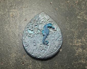 Seahorse Pendant Artisan Beach Chic Blue Turquoise Teardrop Pendant