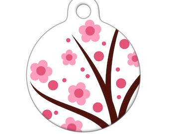 Pet ID Tag - Little Pink Flowers Pet Tag, Dog Tag, Cat Tag, Luggage Tag, Child ID Tag