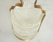 Vintage cut glass coasters set of 4 with gold toned metal holder round crystal tray dish bowl