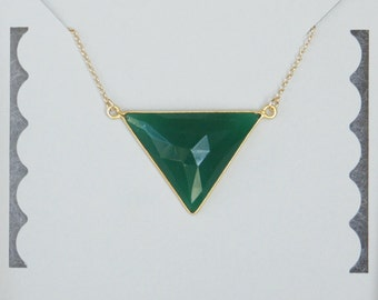 Emerald Necklace, Gold filled, 24K Gold Vermeil, Sterling Silver, Triangle Necklace, Bridesmaid Gift, Birthday Gift, Christmas Gift