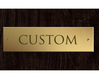 Add A Custom Engraved Brass Plaque To Your Order Wind Chime, Personalized Sign, Custom Metal Work, Hand-stamped Plate, Rectangle Nameplate