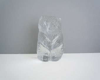 Blenko Clear Glass IceFloe Large Bear Bookend Don Shepherd Design