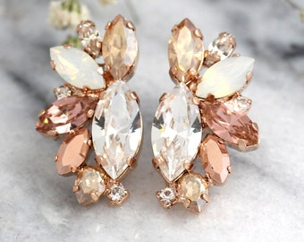 Rose Gold Champagne Cluster Earrings,Blush Bridal Earrings,Bridal Rose Gold Earrings,Bridesmaids Earrings,White Opal Champagne Studs