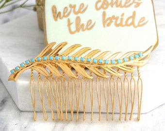Bridal Hair Comb,Swarovski Hair Comb,Rhinestone Hair Comb,Bridal Hair Accessories, Bridal Something Blue ,Gold Hair Comb,Bridal Jewelry