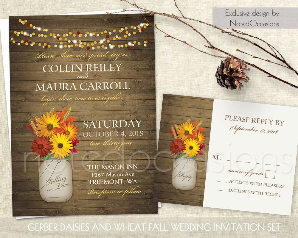 Rustic Fall Wedding Invitations Set Printable By