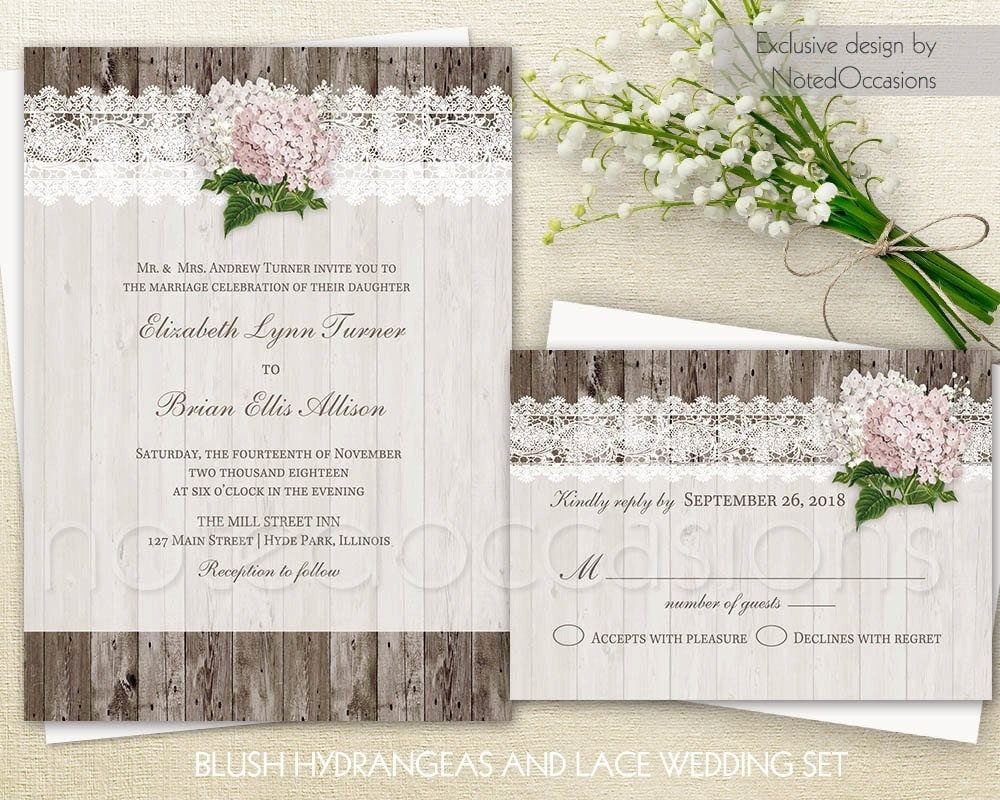 Rustic Wedding Invitation Sets: Rustic Wedding Invitation Set Printable Lace By NotedOccasions
