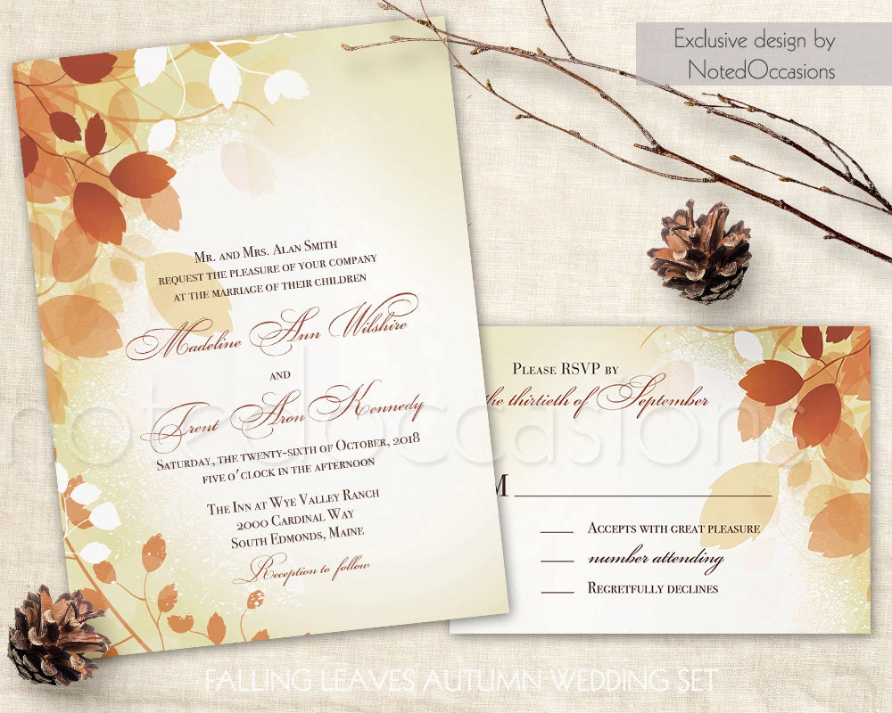 Fall Wedding Invitation Wording: Fall Wedding Invitations Leaves Printable Fall Invite Rystic