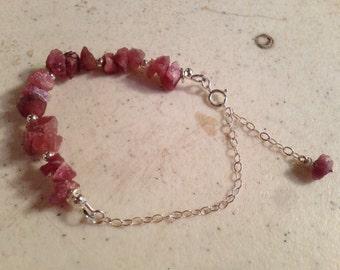 Ruby Bracelet - Sterling Silver Jewelry - Raw Gemstone Jewellery - July Birthstone - Beaded - Luxe - Chain
