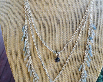 Aquamarine and Sterling Silver Three Stand Necklace / Statement Necklace / Sterling Silver / Aquamarine