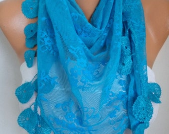 Blue Lace Scarf,Spring Summer Scarf, Shawl, Women Scarves, Cowl Scarf Bridesmaid Gift Gift Ideas For Her Women Fashion Accessories