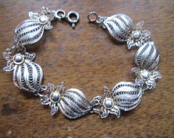 DECO 1930s souvenir made in ITALY spun sterling FILIGREE link floral bracelet